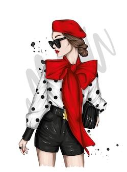 세련된 옷과 베레모 아름다운 소녀