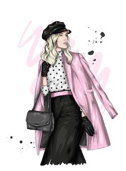 スタイリッシュな服とベレー帽の美しい少女