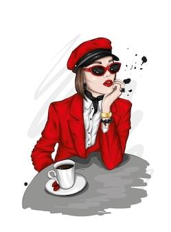 Красивая девушка в стильной одежде и очках