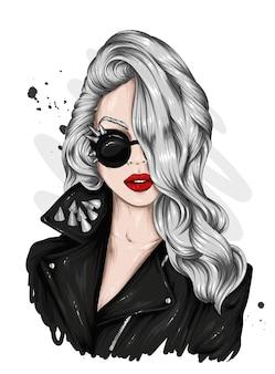 세련 된 옷과 안경에 아름 다운 여자