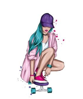 세련 된 옷과 스케이트 보드에 아름 다운 여자
