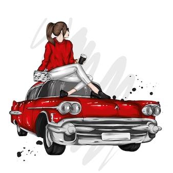 세련 된 옷 커피와 레트로 자동차에서 아름 다운 소녀
