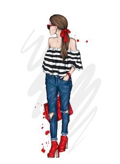 세련된 옷 패션과 스타일의 아름다운 소녀