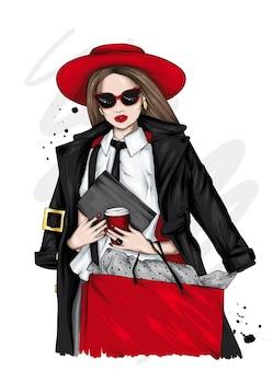Красивая девушка в стильной одежде