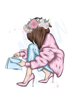スタイリッシュな服を着た美しい少女