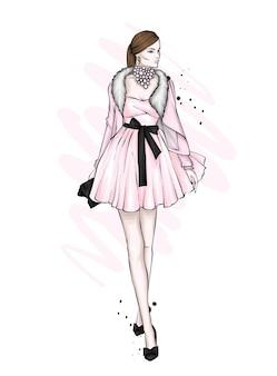スタイリッシュなドレスの美しい少女