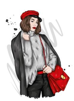 スタイリッシュな冬の服を着た美しい少女