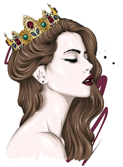 왕관에서 아름 다운 소녀