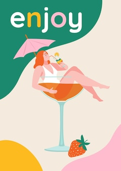 Красивая девушка в стакане коктейля. плакат с героями мультфильмов в плоском стиле.