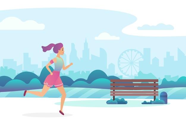 Красивая девушка на пробежке в общественном парке.
