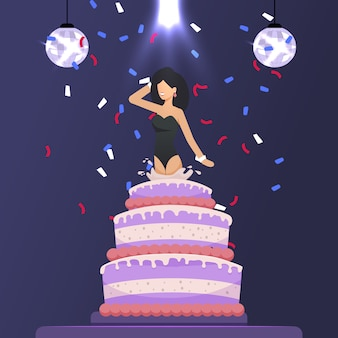 Beautiful girl jumped out of cake festive cartoon