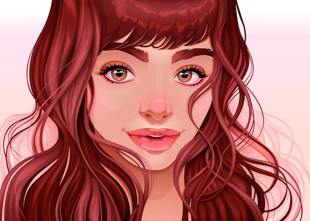 Beautiful girl looking at the viewer, vector illustration