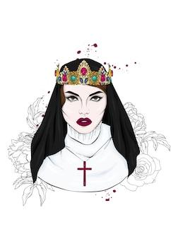 아름다운 소녀 수녀와 왕관
