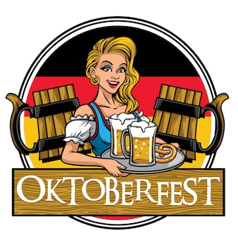 Beautiful girl of oktoberfest design presenting the beers