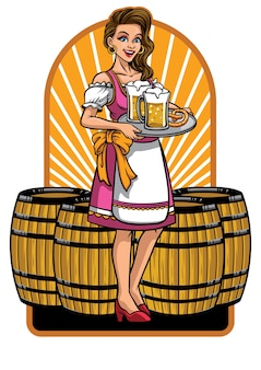 Beautiful girl of oktoberfest presenting beers