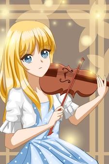바이올린 디자인 캐릭터 만화 일러스트를 연주하는 아름다운 소녀