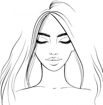 美しい少女の肖像画。目を閉じて女性。スケッチスタイル。