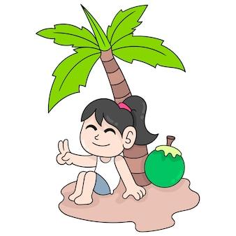 코코넛 섬, 벡터 일러스트레이션 아트에서 휴가를 보내는 아름다운 소녀. 낙서 아이콘 이미지 귀엽다.