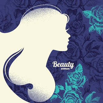 Beautiful girl silhouette. vintage retro background with hand drawn rose flowers