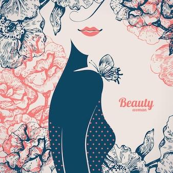 美しい少女のシルエット。手描きのバラの花とヴィンテージのレトロな背景