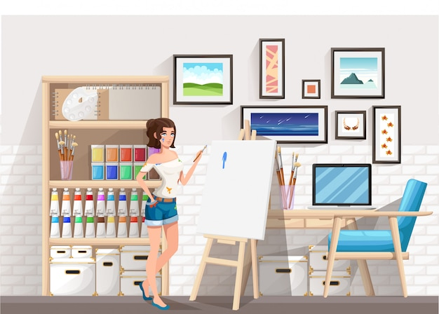 Beautiful girl standing at easel with paint brush. dirty clothes. drawing artist room. cartoon character .   illustration on room background