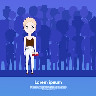 Beautiful girl standing out of crowd over silhouette people group background