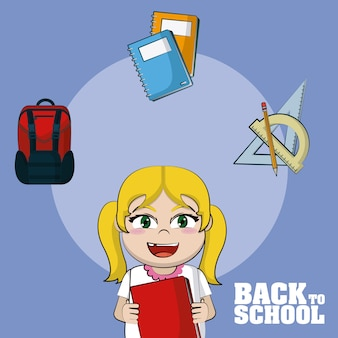 Beautiful girl student with school supplies icons