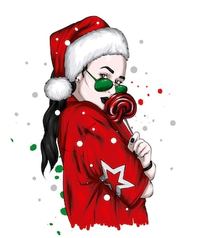 Beautiful girl in stylish christmas clothes and hat of santa claus new year