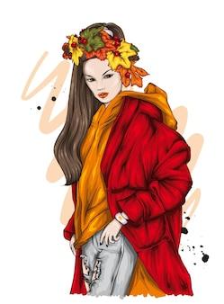 Beautiful girl in stylish clothes fashion