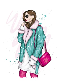 Beautiful girl in stylish winter clothes