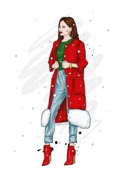 美少女。ベクトルイラスト、クリスマス。