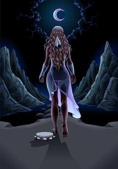 밤 판타지 그림에서 혼자 걷는 아름다운 소녀