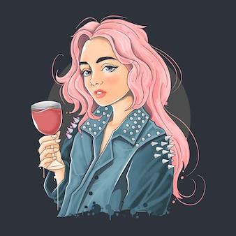 Красивая девушка носить куртку панк-рокер, держа красное вино.