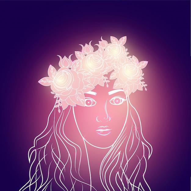 꽃 왕관을 입고 아름 다운 소녀