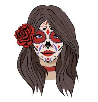 Красивая девушка со страшным макияжем праздник дня мертвых dia de los muertos catrina