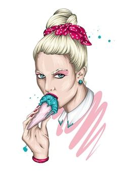 세련된 헤어 스타일과 아이스크림 아름다운 소녀