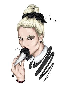 아이스크림을 먹는 세련된 헤어 스타일로 아름다운 소녀