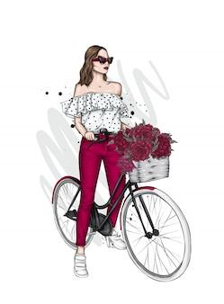 Красивая девушка со старинным велосипедом.