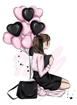 風船と心を持つ美しい少女