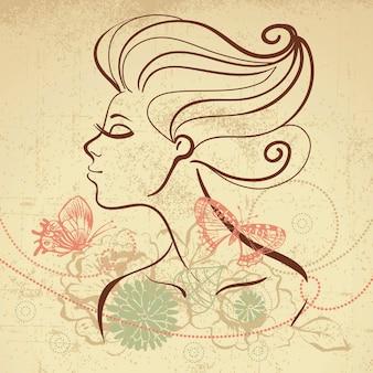 나비와 함께 아름 다운 소녀