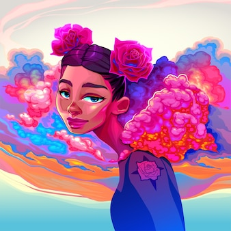 Beautiful girl with clouds and roses in the hair