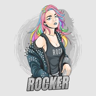 Красивая девушка с яркими волосами, как единорог или радужными волосами, наряжается в рок-н-ролл в кожаную куртку с шипами.