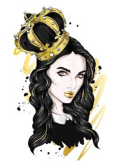 王冠を持つ美しい少女