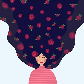 A beautiful girl with a flower. vector illustration of a girl with long hair. cute flat cartoon template for cards and posters. international women's day.