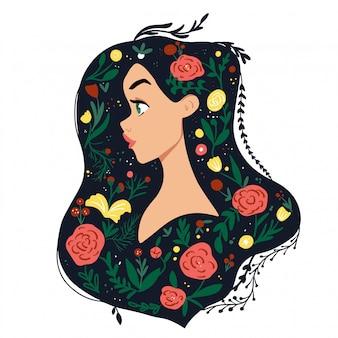 髪に花を持つ美しい少女。エココンセプトイラストレーション