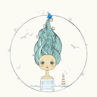 Красивая девушка с развевающимися волосами на морском фоне.