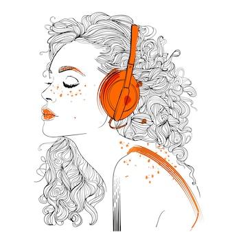 ヘッドフォンと長い髪の美しい少女。ベクトルイラスト