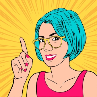 Beautiful girl with index finger. retro pop art style