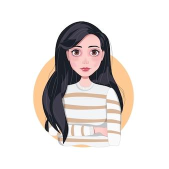 セーターの長い黒髪の美しい少女