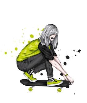 긴 머리와 스케이트 보드와 함께 아름 다운 소녀